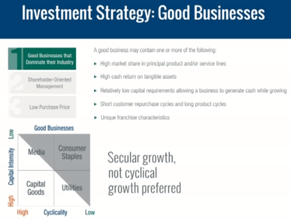 Investment Strategy : Good businesses